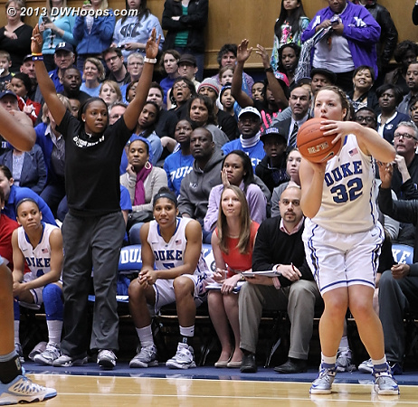 Chelsea Gray is the first on the Duke bench to notice that Tricia Liston finally has an open look from three