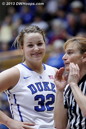 I wonder if Dee was explaining to Tricia how it's acceptable for players from either team to ride their opponents up and down the court like a hobby horse.  As a junior, Tricia should already know how these games are called.  - Duke Tags: #32 Tricia Liston