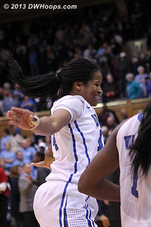 KJ flies into the Duke postgame huddle  - Duke Tags: #14 Ka'lia Johnson