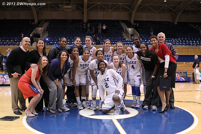 Duke Blue Devils - 2013 ACC Regular Season Champs  - Duke Tags: #1 Elizabeth Williams , #2 Alexis Jones, #4 Chloe Wells, #5 Sierra Moore, #12 Chelsea Gray, #14 Ka'lia Johnson, #15 Richa Jackson, #25 Katie Heckman, #30 Amber Henson, #32 Tricia Liston, #33 Haley Peters, #35 Jenna Frush, #43 Allison Vernerey, Candace Jackson , Joy Cheek , Hernando Planells, Joanne P. McCallie , Al Brown