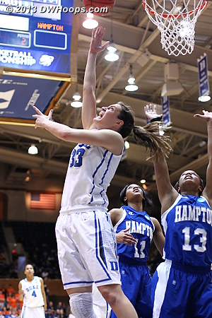 Haley Peters trademark reverse layup puts Duke up 56-44 and forces a Hampton time out  - Duke Tags: #33 Haley Peters