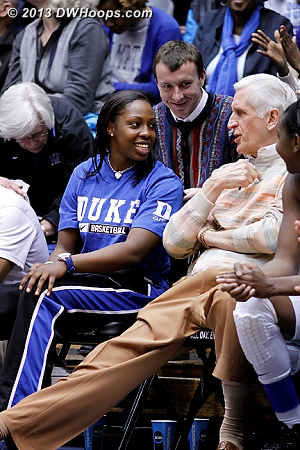 A moment on the bench as Duke is comfortably ahead  - Duke Tags: #12 Chelsea Gray, Al Brown