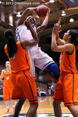 Richa Jackson turns the ball over, with a little unwhistled help from Toni Young.