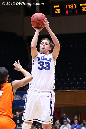 Peters cuts it to single digits, 36-28 OSU  - Duke Tags: #33 Haley Peters