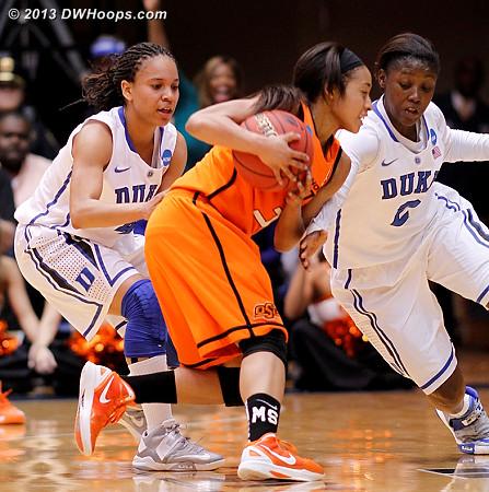 Duke guards swarm a tiring Tiffany Bias