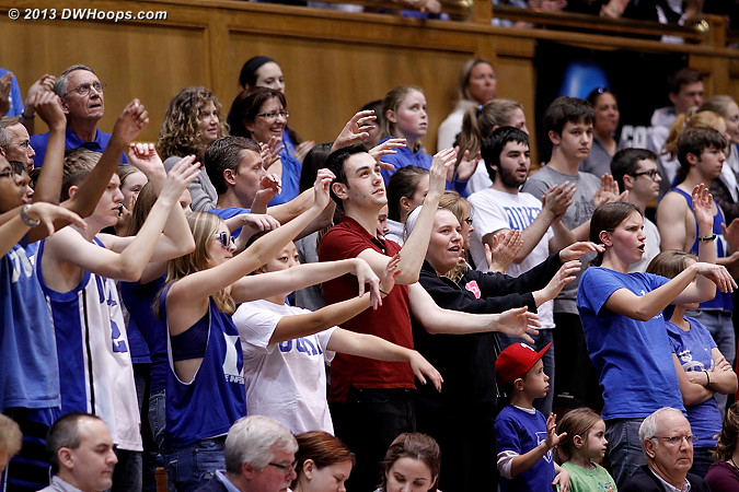 Students celebrate a Cowgirl miscue  - Duke Tags: Fans