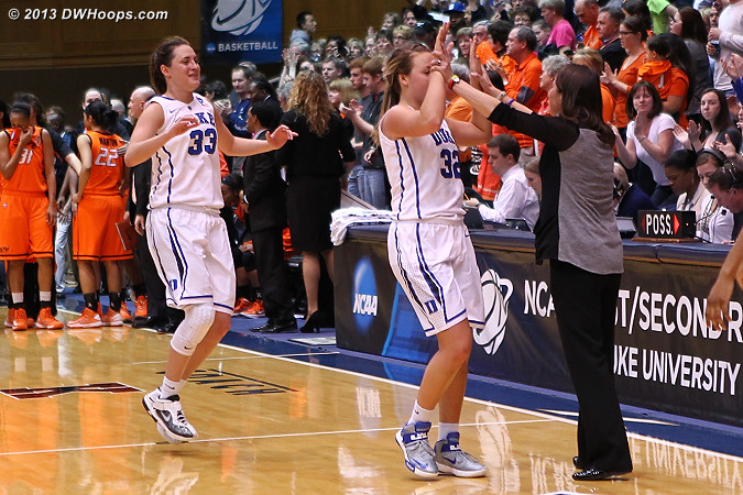 Despite a scare Duke is going to the Sweet Sixteen in Norfolk!  - Duke Tags: #32 Tricia Liston, #33 Haley Peters, Joanne P. McCallie