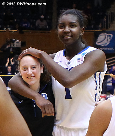 DWHoops Photo  - Duke Tags: #1 Elizabeth Williams , #35 Jenna Frush