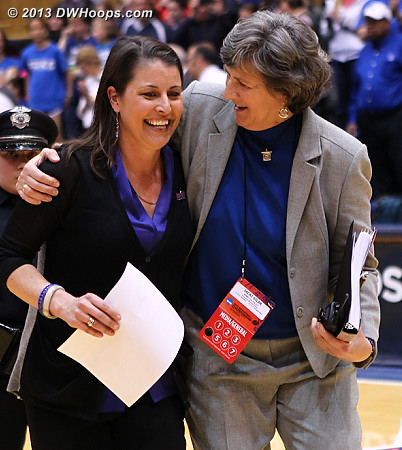 Coach P and Jacki Silar are both happy  - Duke Tags: Joanne P. McCallie