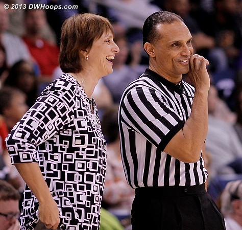 A moment for Nebraska coach Connie Yori and official Billy Smith before tipoff  - NEB Players: Head Coach Connie Yori