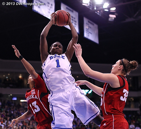 Duke only got 6 second chance points off 12 offensive boards, but those rebounds stopped Nebraska runouts  - Duke Tags: #1 Elizabeth Williams
