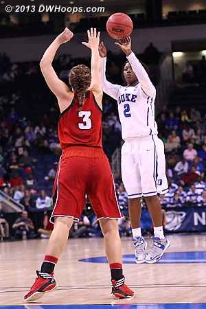 Alexis Jones hits an absolutely cold-blooded three, giving Duke the lead  - Duke Tags: #2 Alexis Jones - NEB Players: #3 Hailie Sample