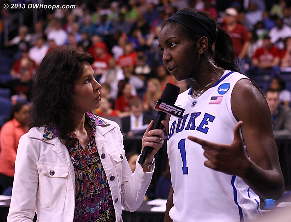 ESPN's Jeannine Edwards interviews Elizabeth Williams at halftime