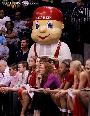 Lurking behind the Nebraska bench...  - NEB Players: Mascot Lil' Red