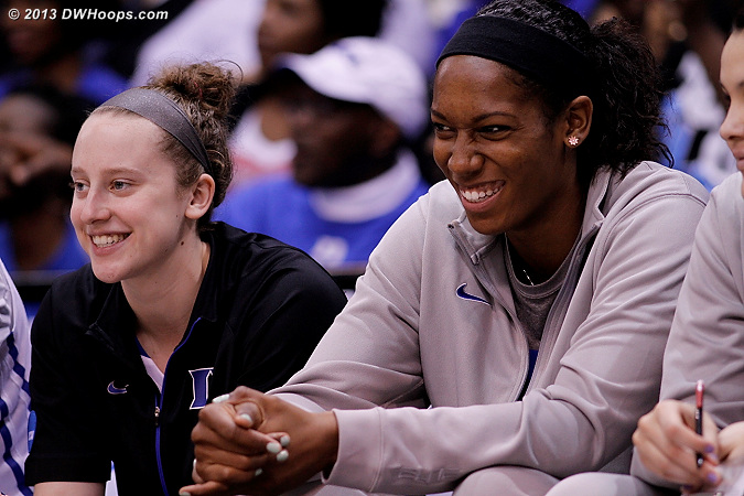 A happy scene on the Duke bench