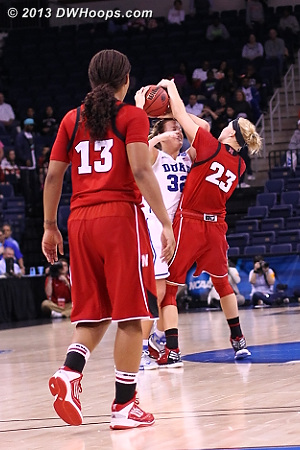 Nebraska did this down eight points with 1 second left.  What-ever.  - Duke Tags: #32 Tricia Liston - NEB Players: #23 Emily Cady