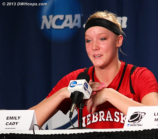 Hard to maintain composure in the press room when certain questions are asked and a season has just ended  - NEB Players: #23 Emily Cady