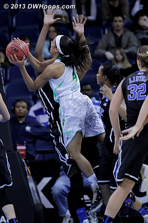 A major turning point was Diggins being called for two early fouls, including this charge.  - ND Players: #4 Skylar Diggins