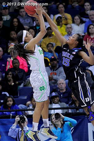 Richa Jackson stuffs a Skylar Diggins jump shot