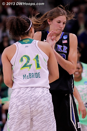 Kayla McBride getting in the way of Vernerey after hitting a three and a Duke time out.  - Duke Tags: #43 Allison Vernerey - ND Players: #21 Kayla McBride