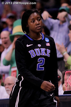 Alexis Jones heads to the bench with five fouls.  She couldn't have had a tougher matchup in this tournament.  - Duke Tags: #2 Alexis Jones
