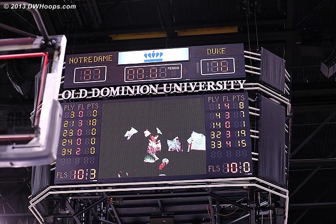 Ballgame. Notre Dame 87, Duke 76.