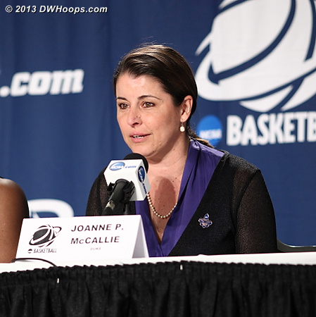 Coach P in the media room for the last time this season  - Duke Tags: Joanne P. McCallie