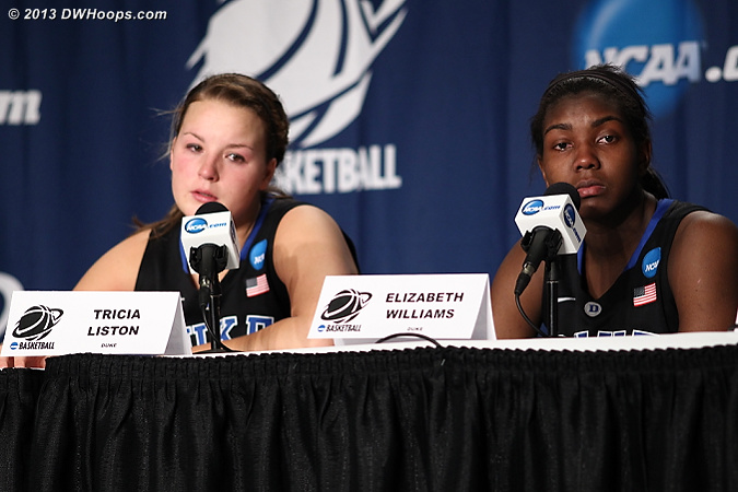 Final questions in the media room as the celebration music for Notre Dame blasted in the arena  - Duke Tags: #1 Elizabeth Williams , #32 Tricia Liston