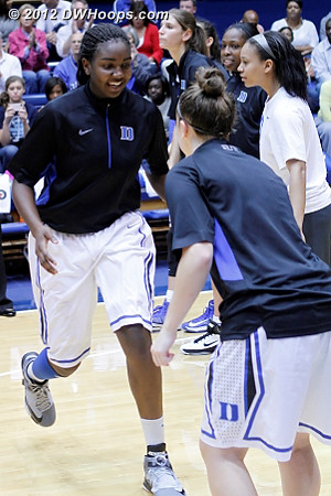 Pregame intro - Williams did play but only for stretches of several minutes at a time  - Duke Tags: #1 Elizabeth Williams