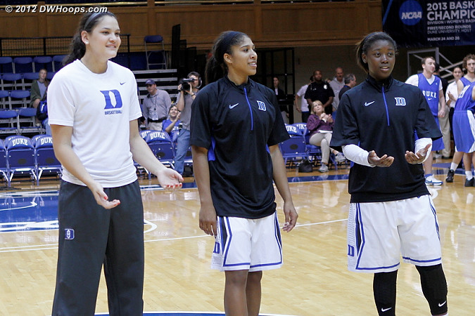 Duke's freshmen at mid-court during intros in number order from right to left  - Duke Tags: #2 Alexis Jones, #5 Sierra Moore, #25 Katie Heckman