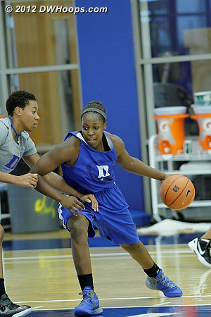 Chelsea Gray battles assistant coach Joy Cheek during a drill  - Duke Tags: #12 Chelsea Gray, Joy Cheek