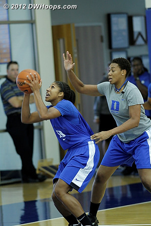 Sierra Moore works past Joy Cheek during a drill  - Duke Tags: #5 Sierra Moore, Joy Cheek