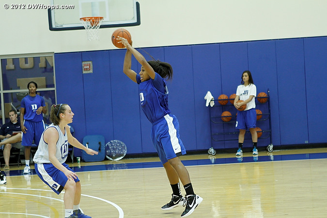 Moore entry pass over Frush  - Duke Tags: #5 Sierra Moore, #35 Jenna Frush