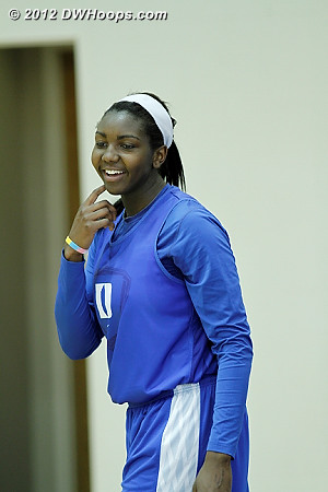 Elizabeth Williams (leg) was also on the side court  - Duke Tags: #1 Elizabeth Williams