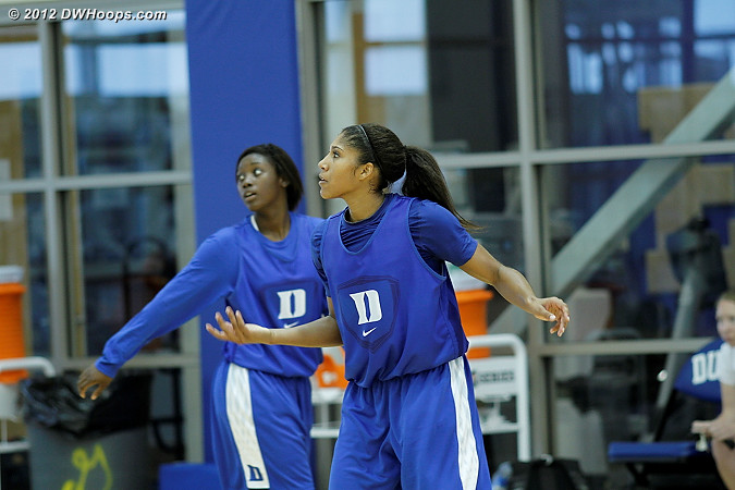 Alexis Jones (left) and Sierra Moore will benefit from a lot of playing time in France  - Duke Tags: #2 Alexis Jones, #5 Sierra Moore
