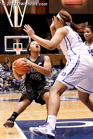Alex Stanford reacts to the defensive position of Kendall McCravey-Cooper  - Duke Tags: #21 Kendall McCravey-Cooper