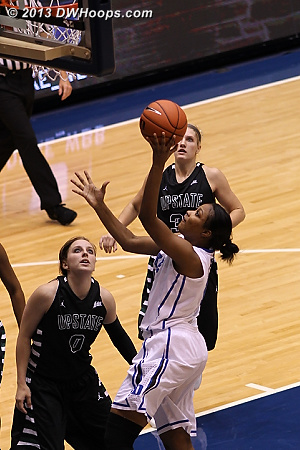 Richa Jackson finishes off a spectacular bounce pass from Chelsea Gray