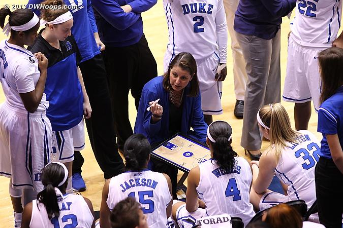 Coach P in the Duke huddle  - Duke Tags: Joanne P. McCallie