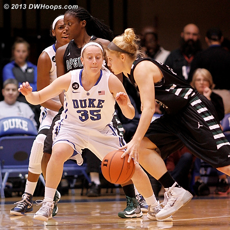 Frush moves her feet on defense, but would be called for a hand check moments later