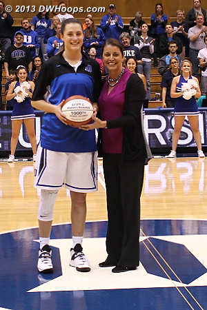 Haley Peters awarded a basketball for surpassing the 1,000 point mark during the 2013 NCAA Tournament  - Duke Tags: #33 Haley Peters, Joanne P. McCallie