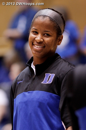 Ka'lia during pregame intros  - Duke Tags: #14 Ka'lia Johnson