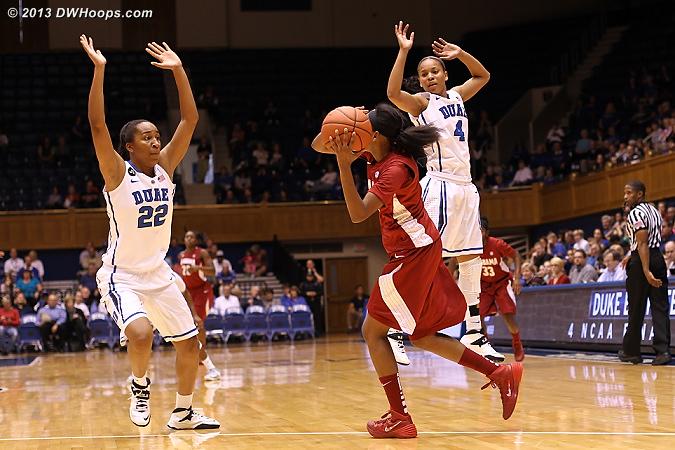 Duke defense surrounds Simmons  - Duke Tags: #22 Oderah Chidom, #4 Chloe Wells - ALA Players: #00 Daisha Simmons