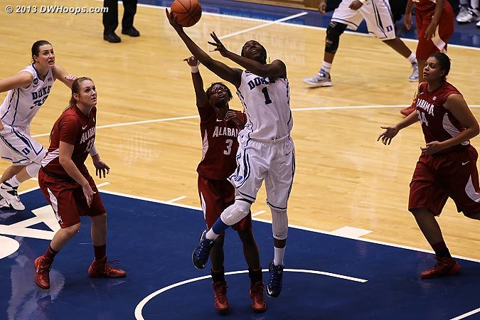Elizabeth Williams scores in the paint  - Duke Tags: #1 Elizabeth Williams  - ALA Players: #3 Khadijah Carter