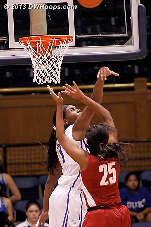 Big rejection by Liz, who has blocked at least one shot in each game of her Duke career to date  - Duke Tags: #1 Elizabeth Williams  - ALA Players: #25 Briana Hutchen
