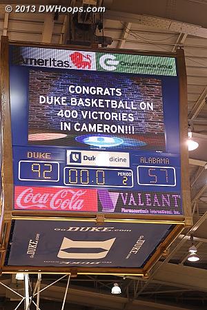 Ballgame! Duke 92, Alabama 57, Duke's 400th WBB win in Cameron