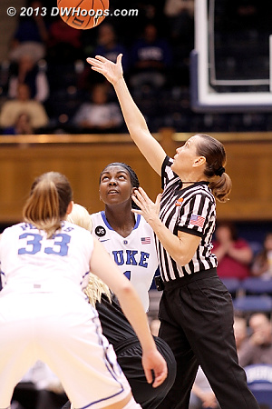 Susan Blauch tosses the ball for the opening tip  - Duke Tags: #1 Elizabeth Williams