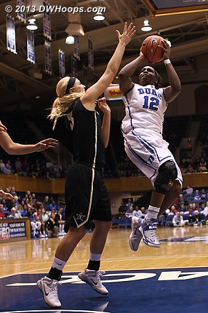 Chelsea Gray shoots over Heather Bowe