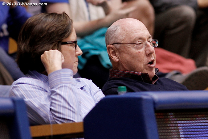 WNBA Washington Mystics coach Mike Thibault was in the house scouting the Duke seniors, with assistant Marianne Stanley