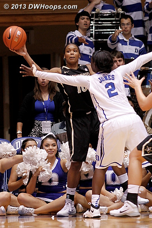 A tough inbound as the Duke Band gives the whammy  - Duke Tags: #2 Alexis Jones, Duke Pep Band  - VAND Players: #10 Christina Fogge