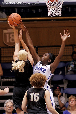 With this block, Elizabeth Williams extended her 73 game streak of at least one block per game - that's her Duke career to date!  - Duke Tags: #1 Elizabeth Williams  - VAND Players: #3 Heather Bowe